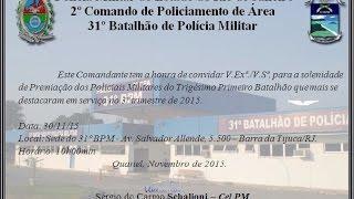 Policiais do 31º BPM que se destacaram no 3º trimestre 2015