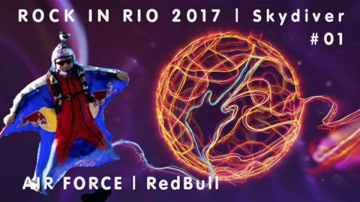 Skydiver Air Force RedBull | Rock in Rio 2017